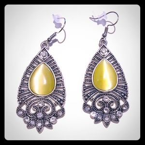 "3/$24 2"" Silver/Yellow Clear Rhinestone Earrings"